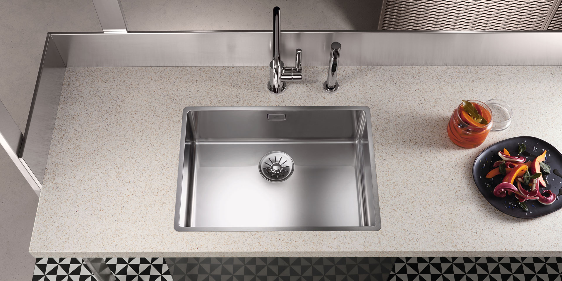 Polished stainless steel kitchen sinks
